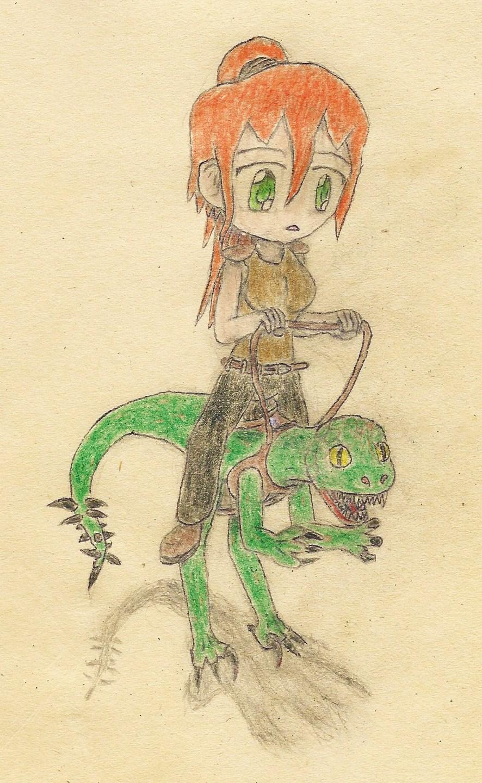 a girl riding on a raptor by JofDragon