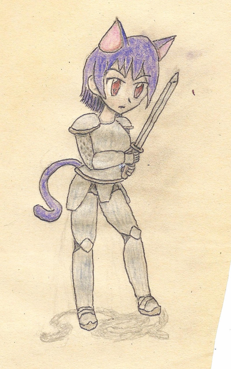 cat-girl warrior by JofDragon