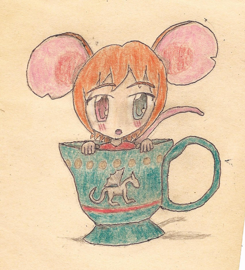 mouse-girl in a cup by JofDragon