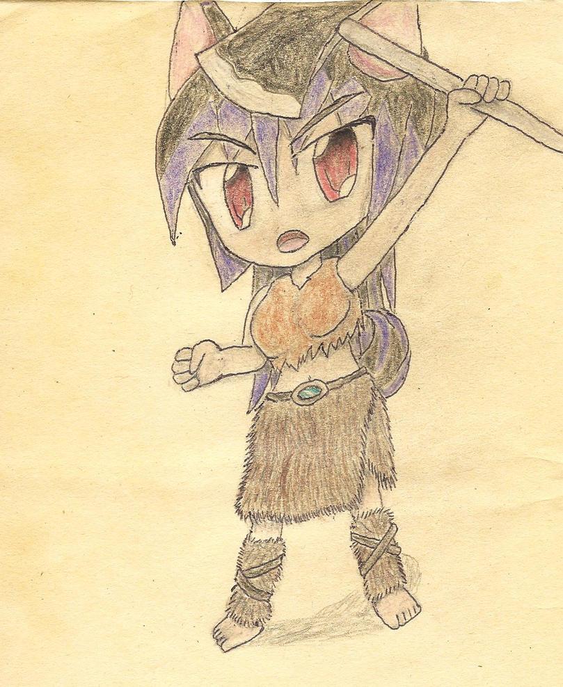 chibi barbarian wolf-girl by JofDragon