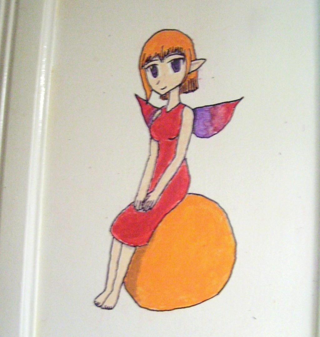 fairy sitting on a orange by JofDragon