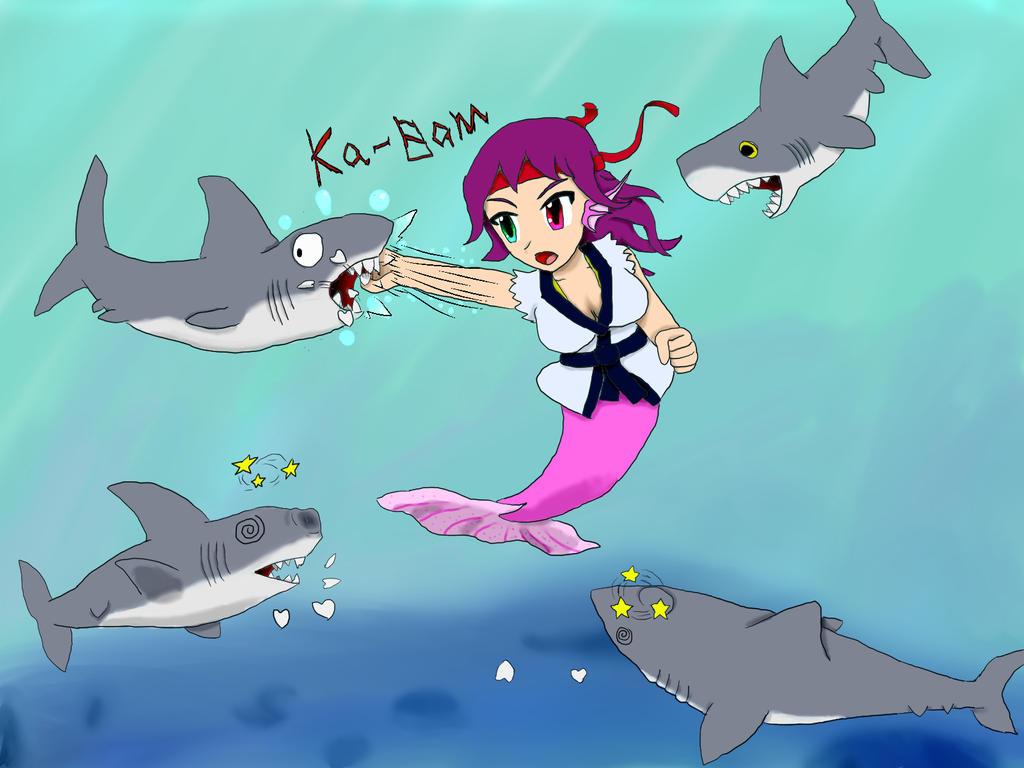 Merimaid Vs Shark by JofDragon