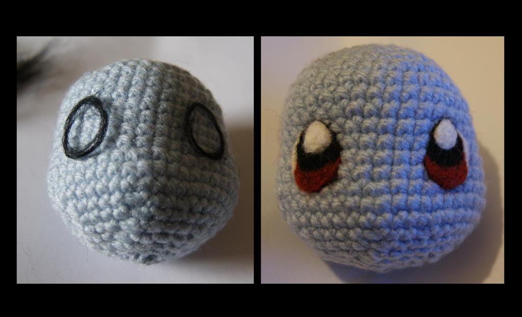 Eyes For Amigurumi : Squirtle amigurumi needle felt eyes wip by itsabumbledee on deviantart