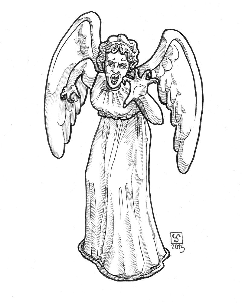 Line Drawing Angel : Senshistock weeping angel by the tinidril on deviantart