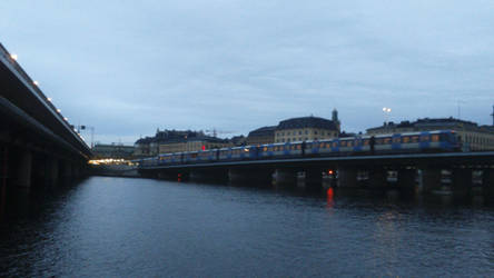 Swedish metro train on a bridge by Joonas08Joonas