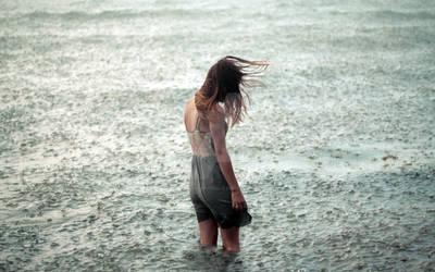 Robert Vincent Peace - Girl in Rain and lake