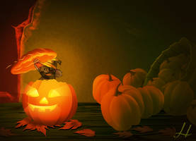 Cat in the Pumpkin by SuliannH