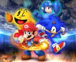 SSB4 Mario, Pac-Man, MegaMan and Sonic BG