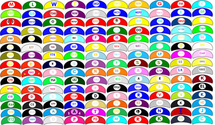 The 150 Mario Hats of Nintendo by Flame-dragon