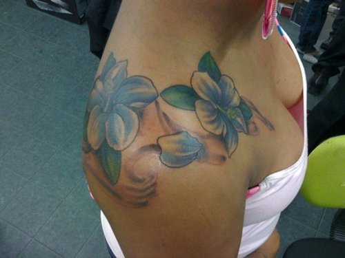 hibiscus over shoulder 2 - shoulder tattoo