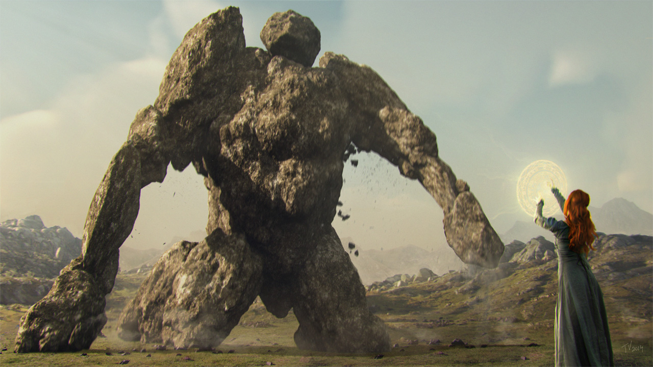 Awakening the Stone Golem by Suirebit