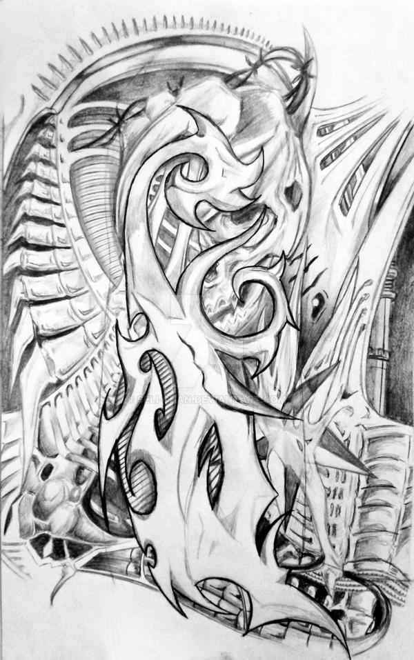 Biomechanical Tattoo Line Drawing : Biomechanical tattoo expansion by seli chan on deviantart