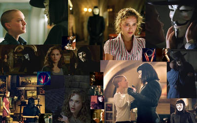V and Evey Desktop Collage by jennperry22