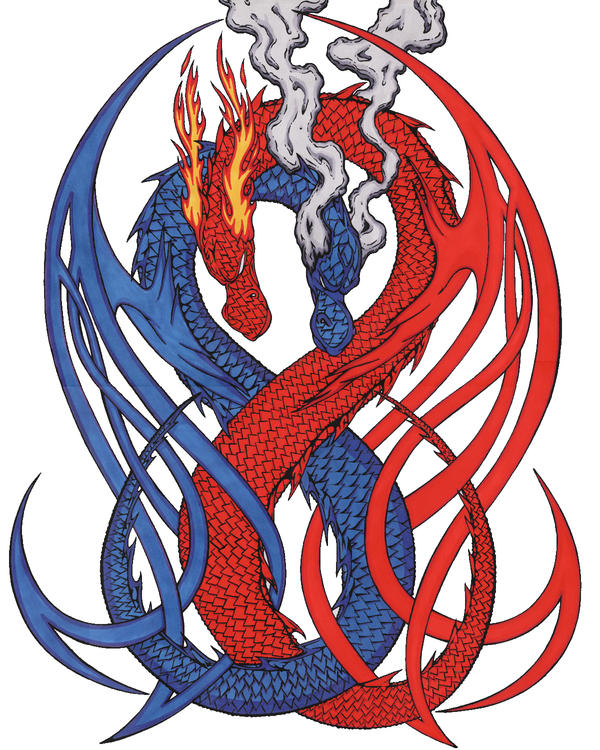 blue red dragon