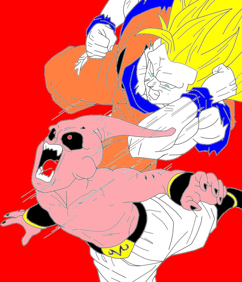goku ss3 vs kid buu by supersaiyan1234 on deviantart