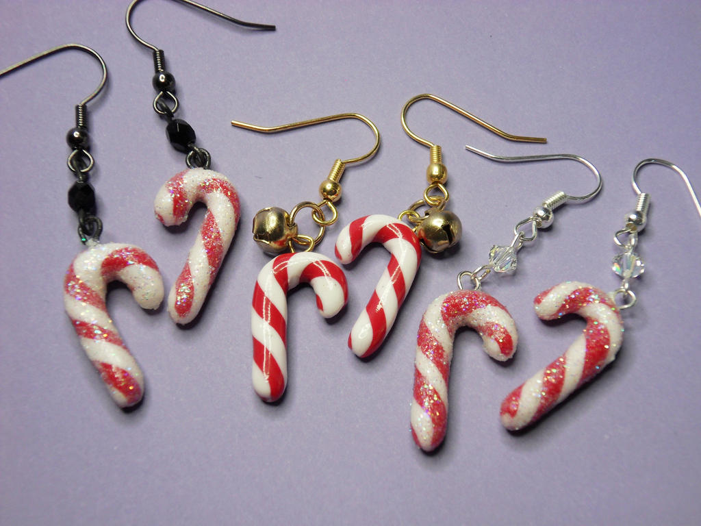 Candy Cane Earrings By Solidparadox