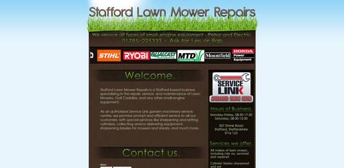 'Stafford Lawn Mower Repair' Website Design