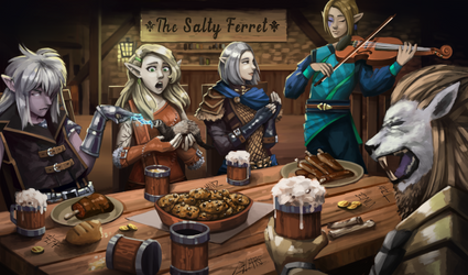 Commission - DnD Characters in a Tavern
