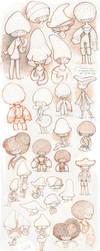 Sketches mushrooms by Sorente