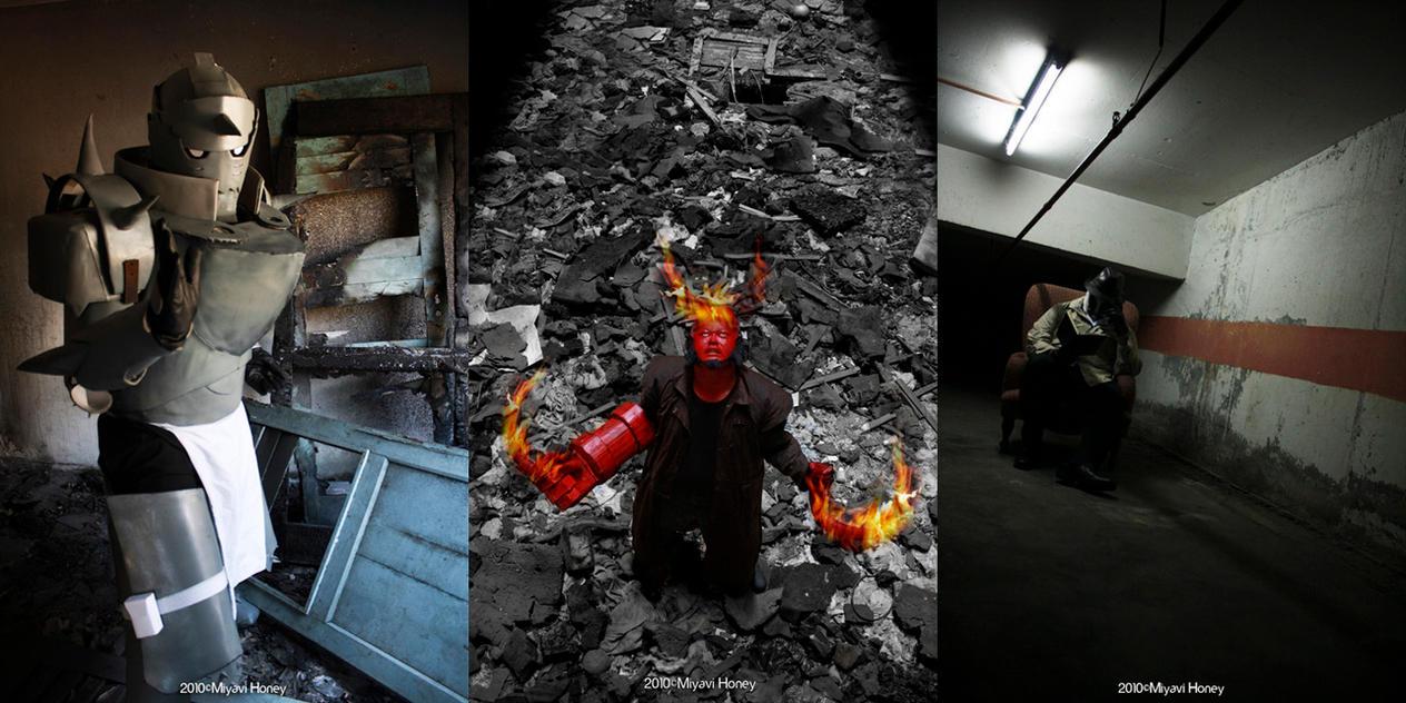 Alphonse, Hellboy, Rorschach by miyavihoney