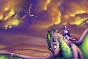 Dragons at Sunset by C-Puff