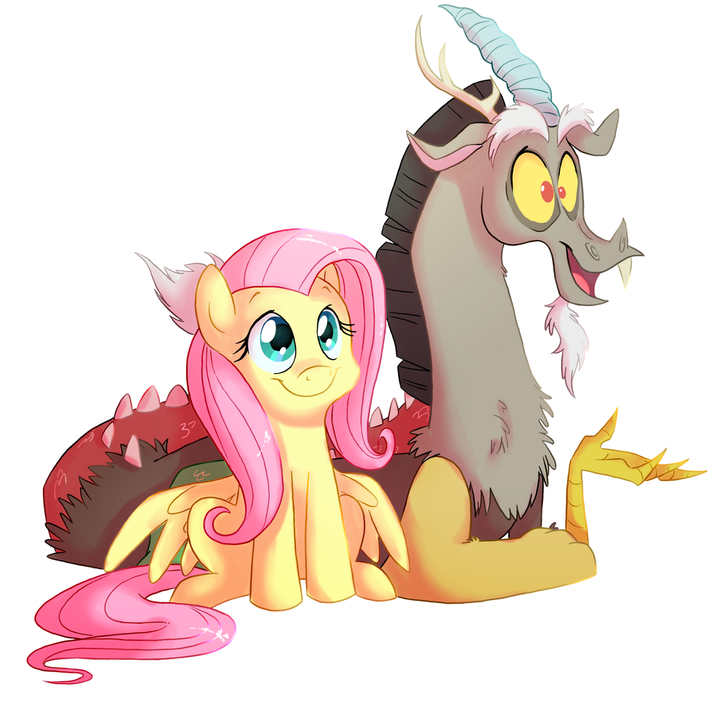 Fluttershy and Discord by Fillyblue by C-Puff
