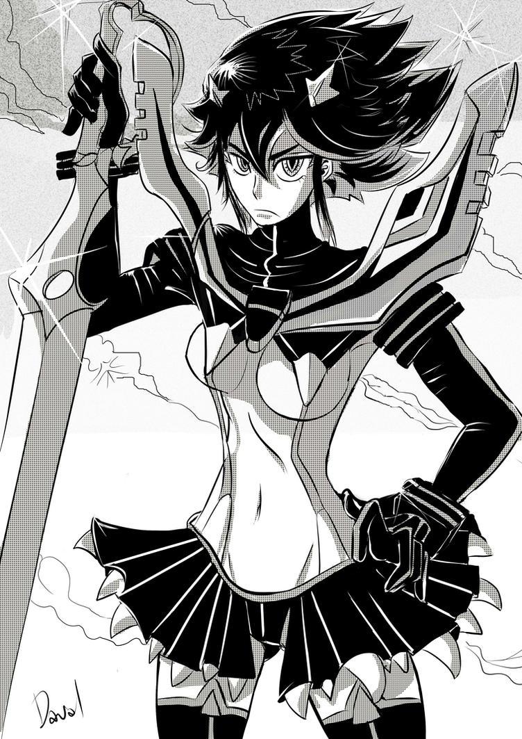 Ryuko Matoi Black and White 2 by daval-G
