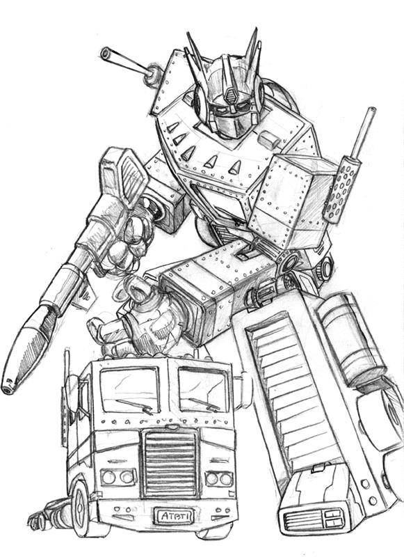 Kleurplaten Transformers Optimus Prime.Grimlock Kleurplaat