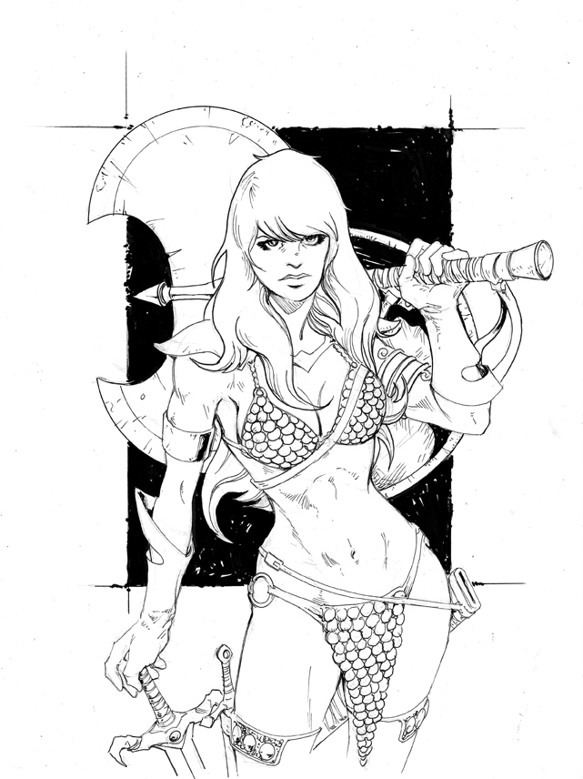 Red Sonja Pen and Ink by glovestudios