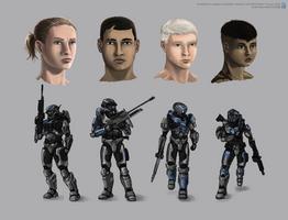 Fireteam Halberd concept sheet by The-Chronothaur