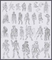 Sangheili sketchdump by The-Chronothaur