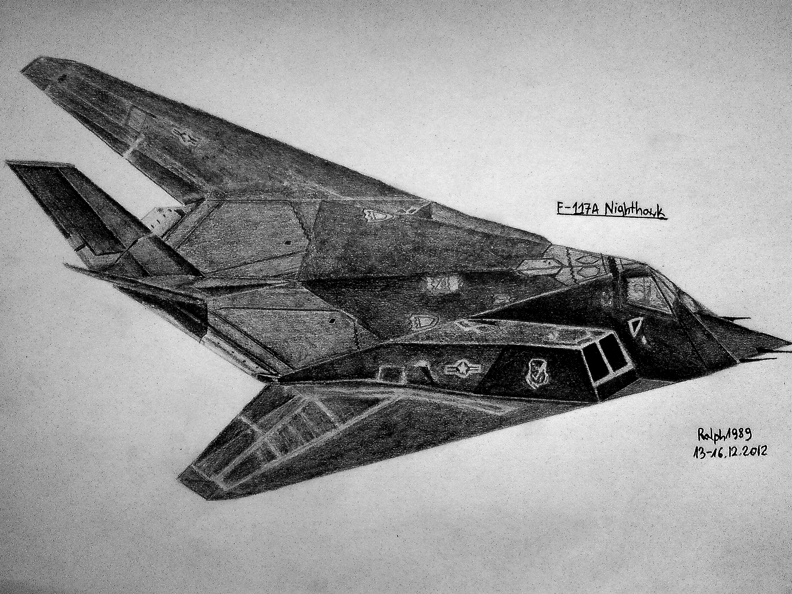 F 117 Stealth Fighter Drawing F-117A Nighthawk #1 by...