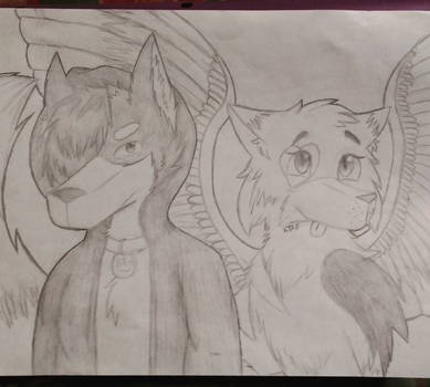 Request: Wolfie and Silly Kitty (Sketch)