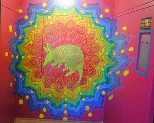 Arturo Armadillo Freight Elevator mural