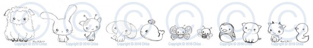 Chibi Animal Group Sketch by Tsukarii