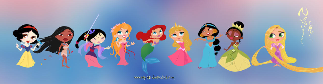 Disney Princesses Chibi by Nippy13