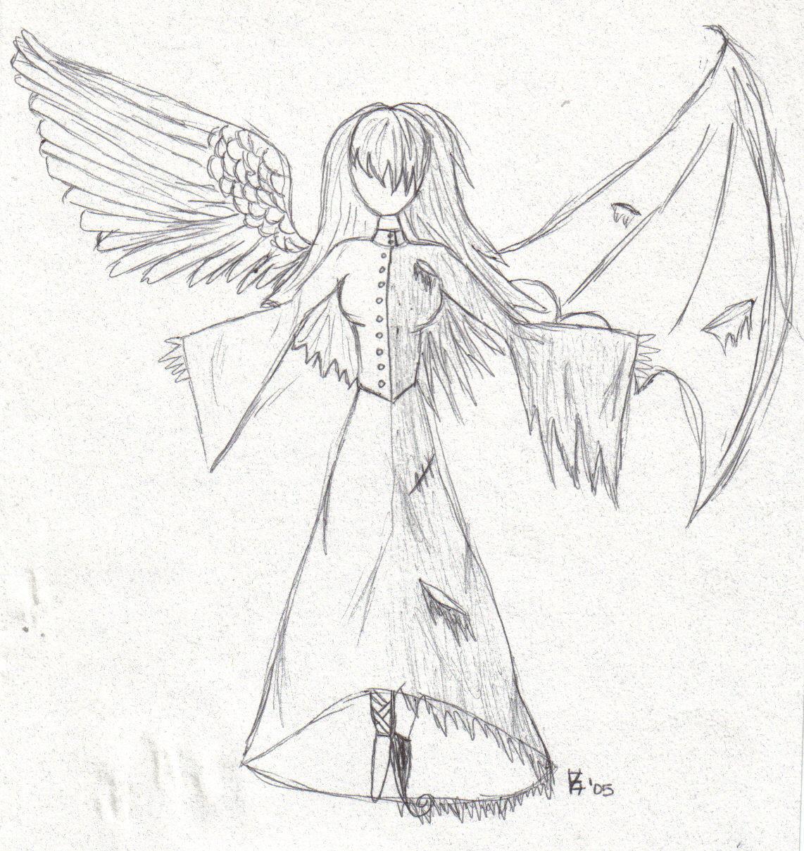 good and evil by darkartist13 traditional art drawings fantasy 2005 ...: darkartist13.deviantart.com/art/good-and-evil-21025472