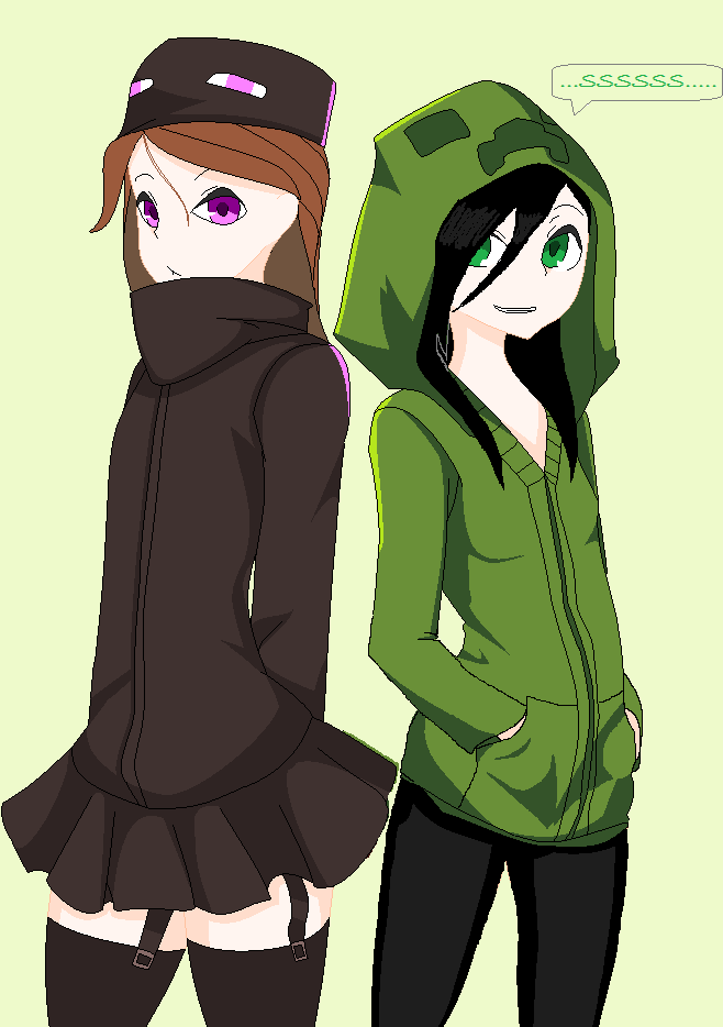 Creeper and ender girls by chameleonist on deviantart - Creeper anime girl ...