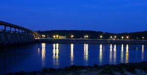 Lock and Dam at Night by burns529