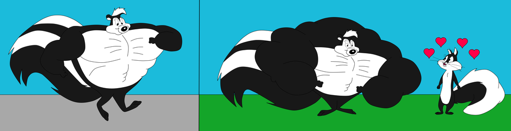 Buff Pepe Le Pew Flexes For Penelope Pussycat by NitroactiveStudios
