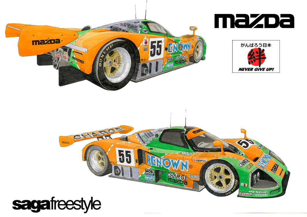 Mazda 787b 24 hours Le Mans 1991, watercolour by sagafreestyle