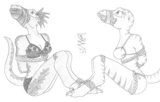 Raptors in bondage by Limpurtikles