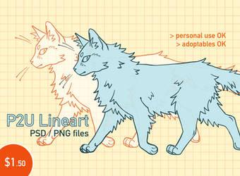 p2u longhair cat lineart