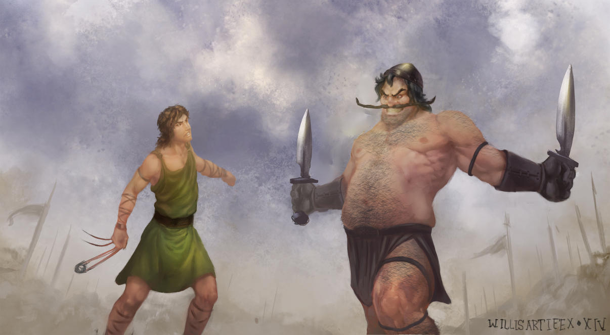 David And Goliath by WillisArtifex