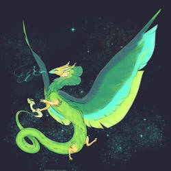 Green dragon, starry sky