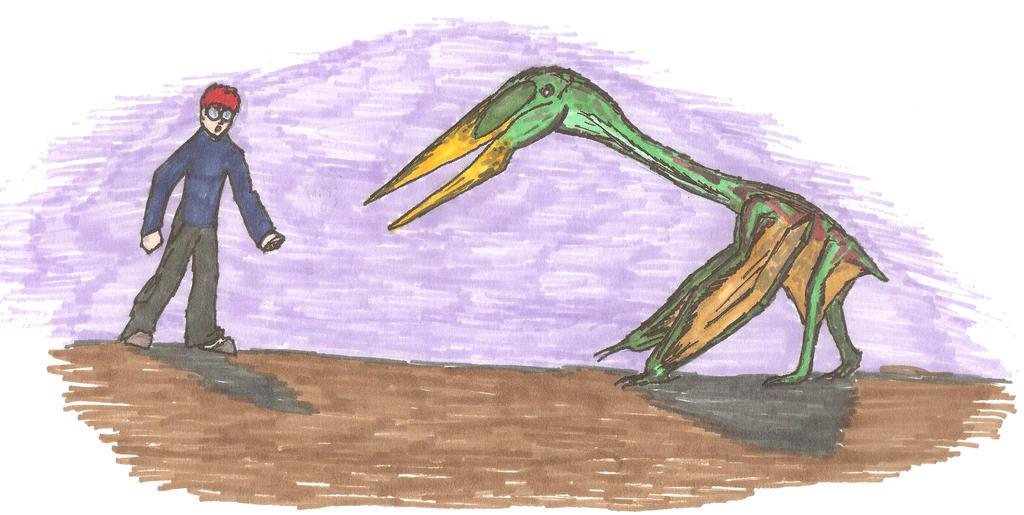Zhejiangopterus vs. Me by EmperorDinobot