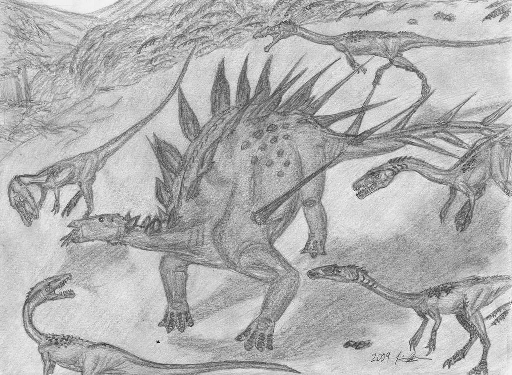 KentrosaurusVs.Small Elaphros by EmperorDinobot