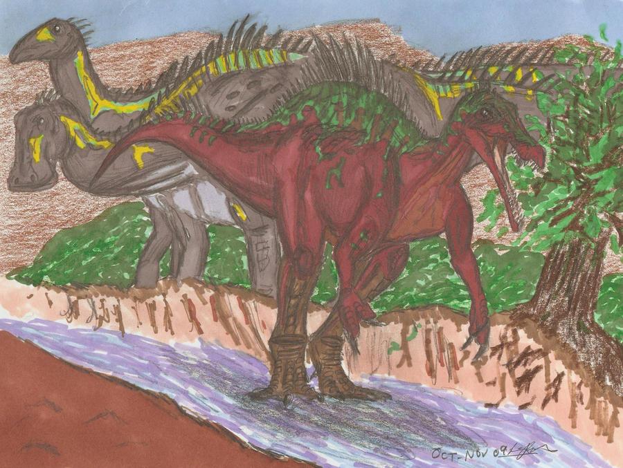Suchomimus and Nigersaurus by EmperorDinobot