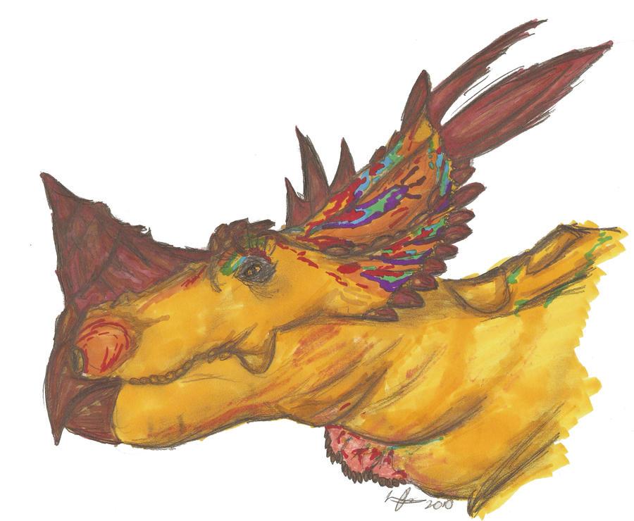Pachyrhinosaurus bust by EmperorDinobot
