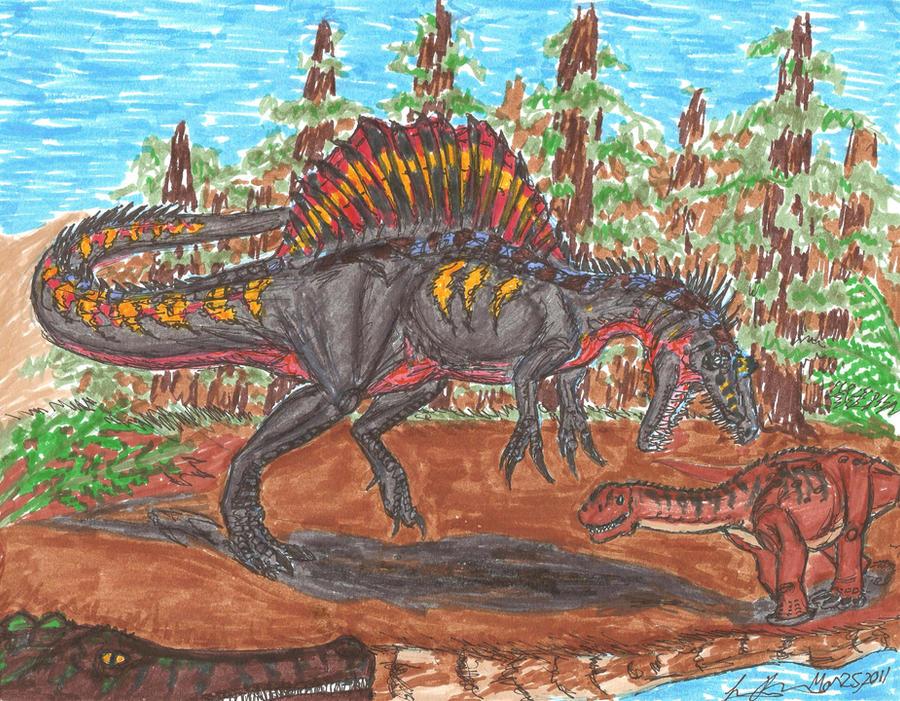 Spinosaurus vs Aegyptosaur by EmperorDinobot
